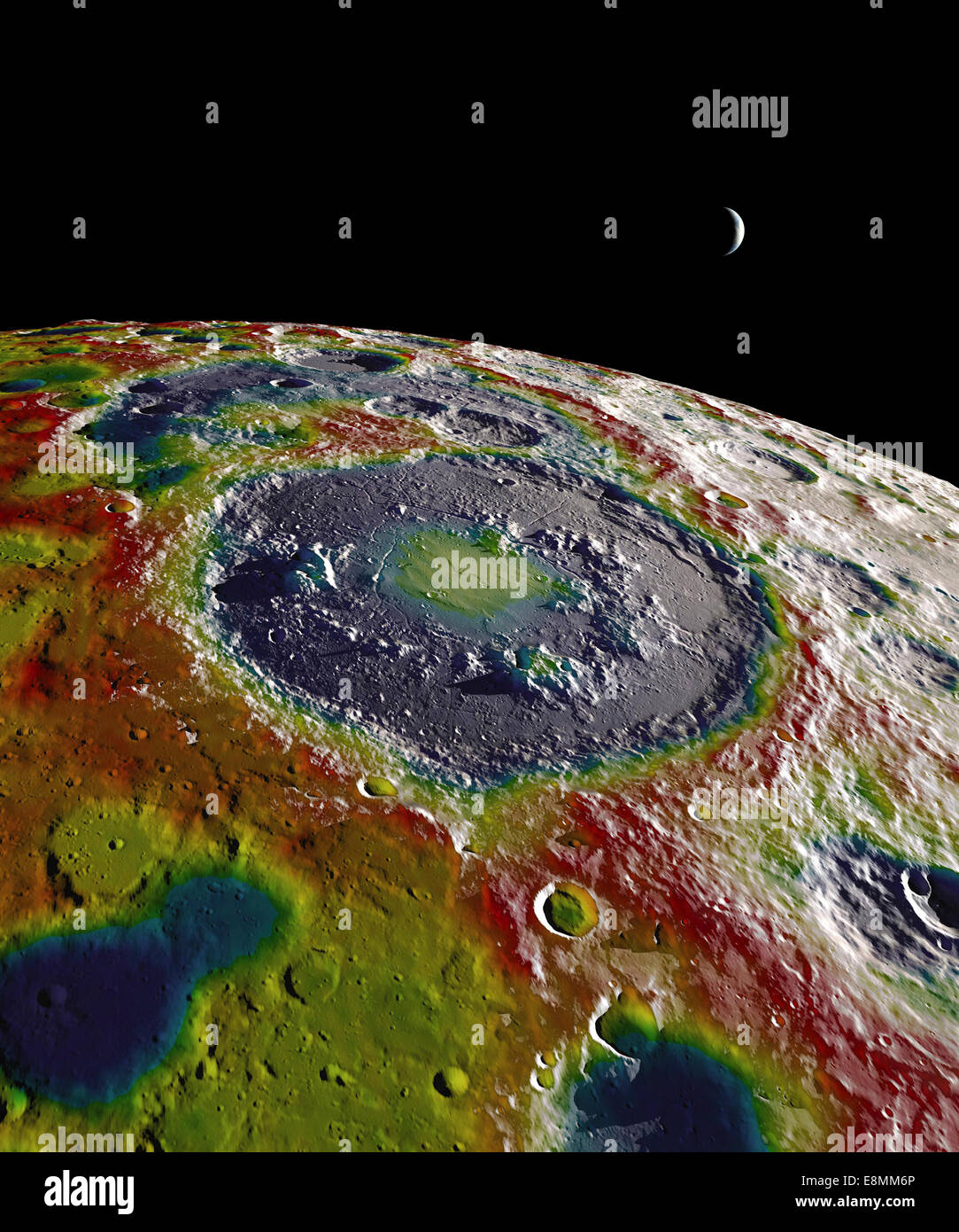 This still image features a free-air gravity map of the Moon's southern latitudes developed from data returned - Stock Image