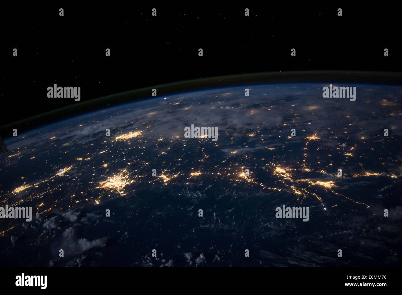 August 9, 2014 - Nighttime image showing city lights in at least half a dozen southern states from some 225 miles - Stock Image