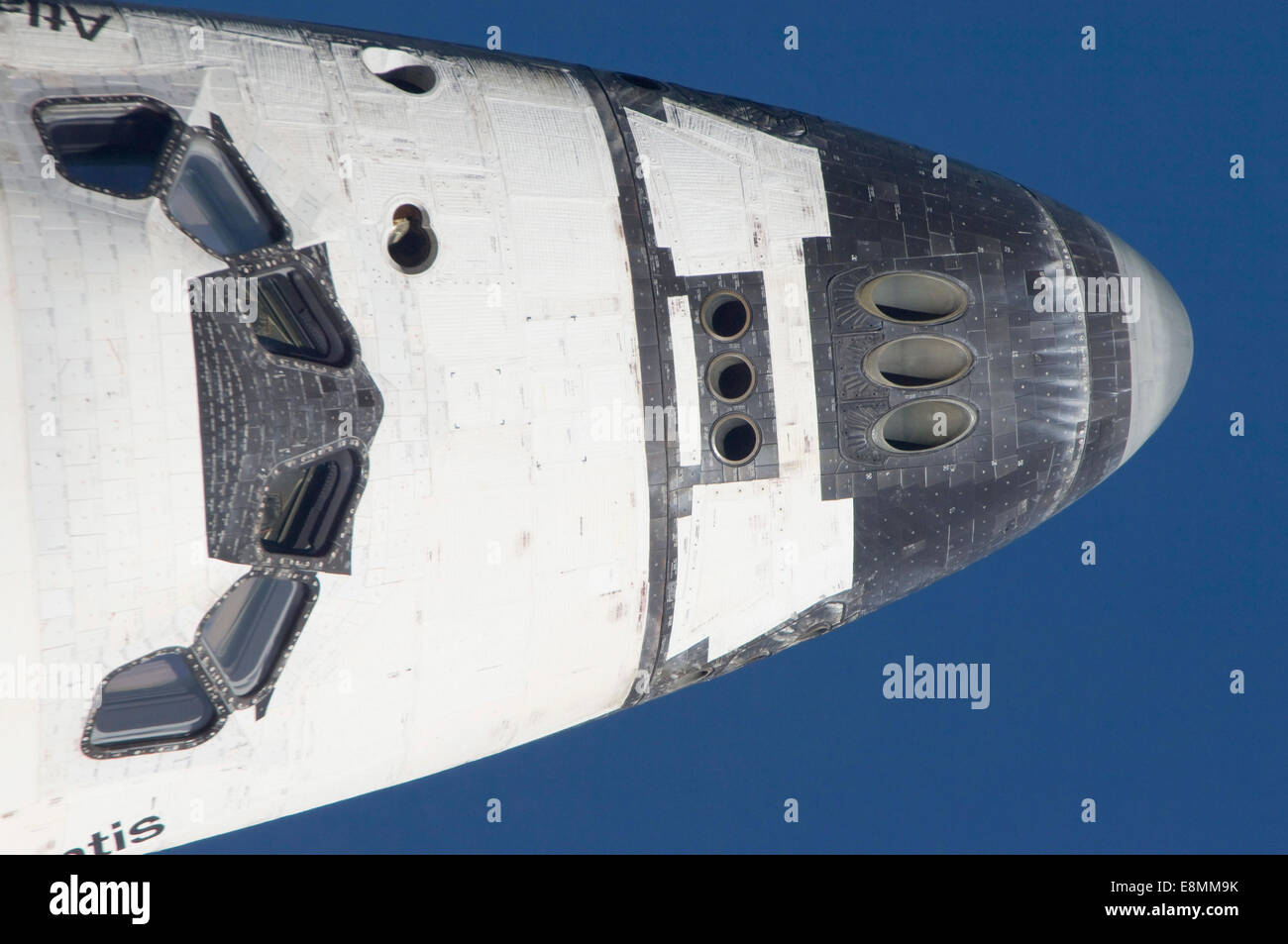 July 10, 2011 - Close-up of the front section of space shuttle Atlantis in Earth orbit. - Stock Image