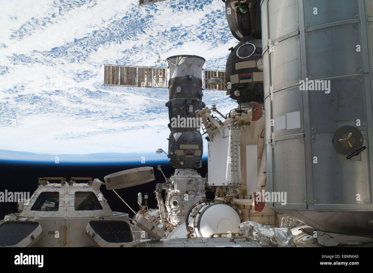 July 12, 2011 - The International Space Station's Cupola, backdropped against black space, a horizon scene and - Stock Image