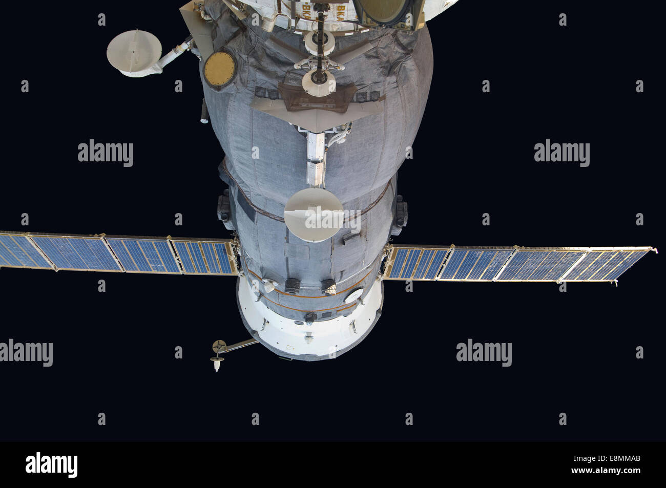 September 16, 2011 - A docked Russian Soyuz spacecraft backdropped by the blackness of space. - Stock Image