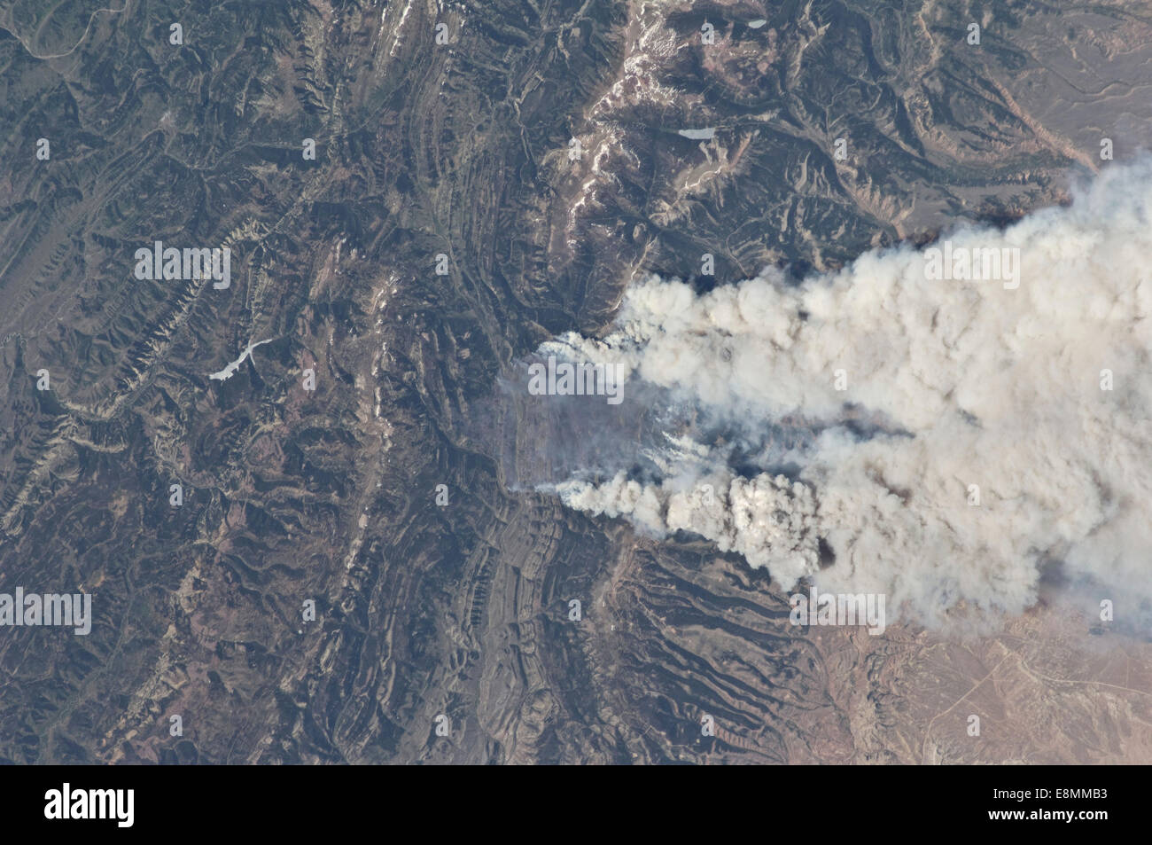 June 27, 2012 - View from space of the Fontenelle fire burning in Wyoming. - Stock Image