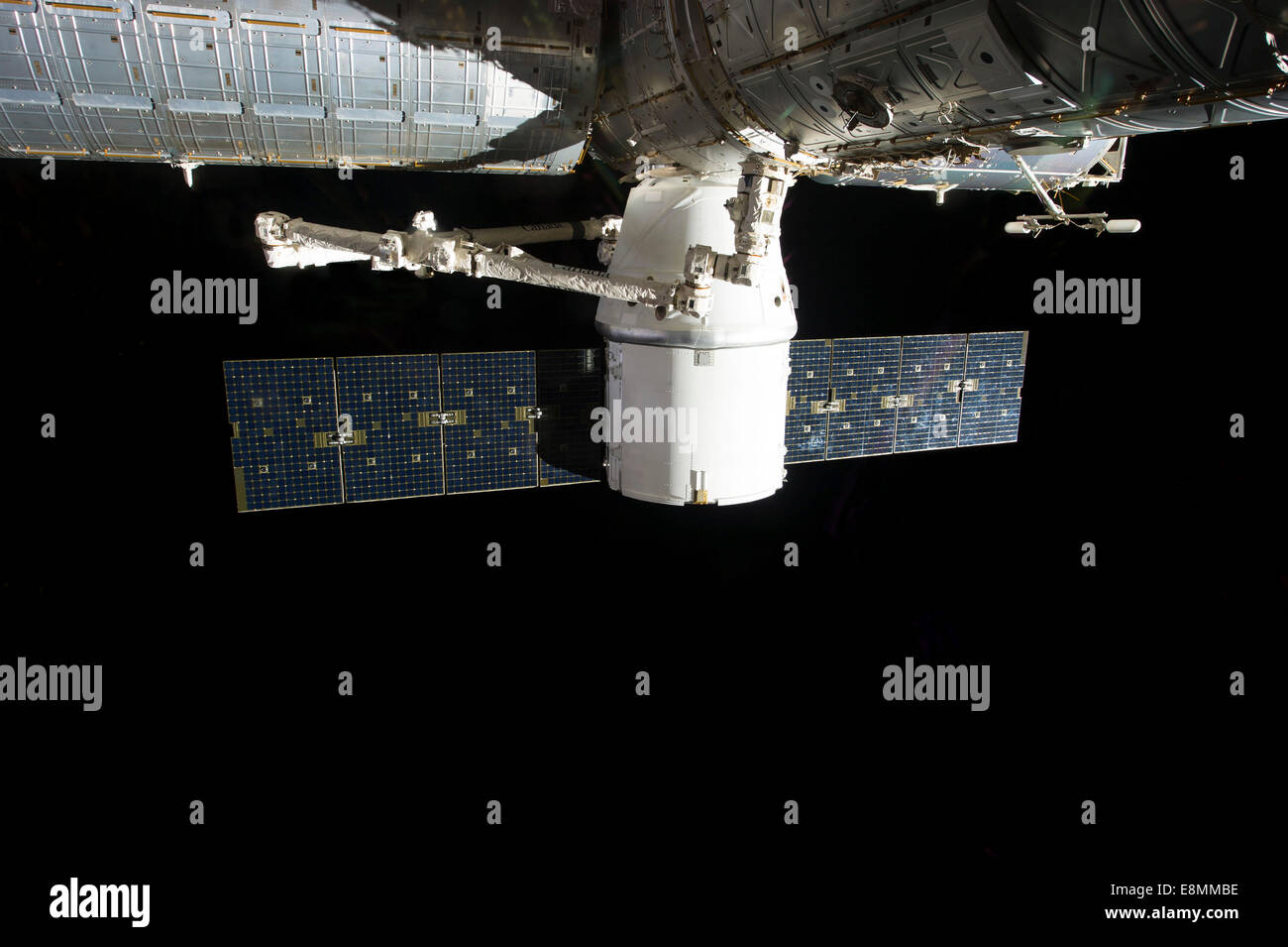March 3, 2013 - The docking of SpaceX Dragon to the International Space Station. - Stock Image