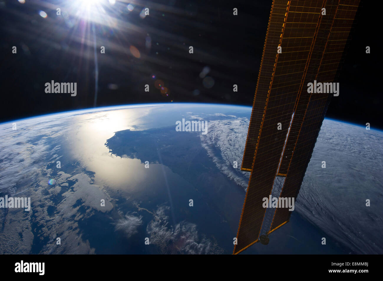 April 1, 2013 - The sun is about to set in this scene showing parts of southwestern Australia. Several of the orbital - Stock Image