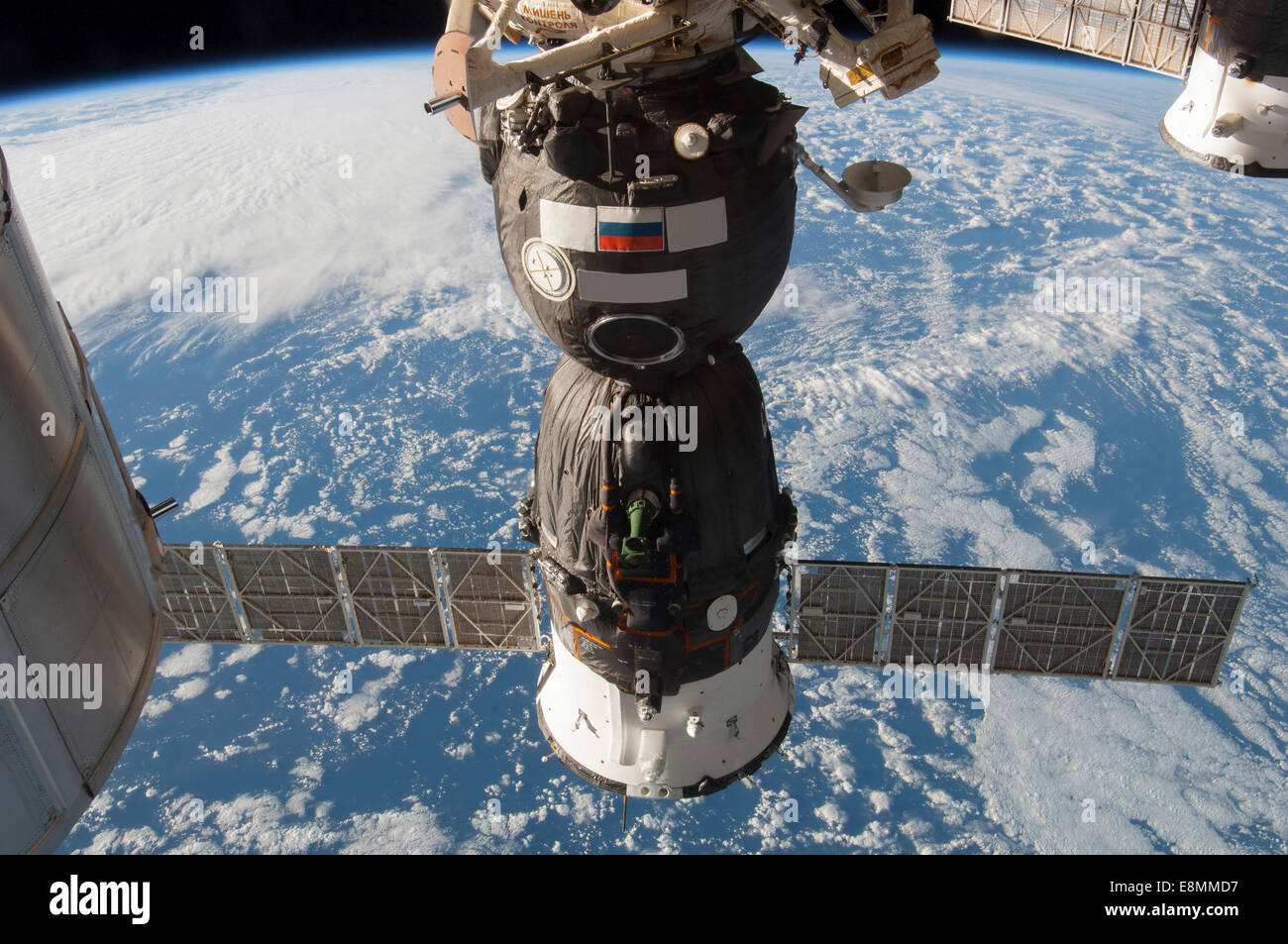 November 12, 2013 - The Russian Soyuz TMA-11M spacecraft docked to the Rassvet or Mini-Research Module 1 (MRM-1). - Stock Image