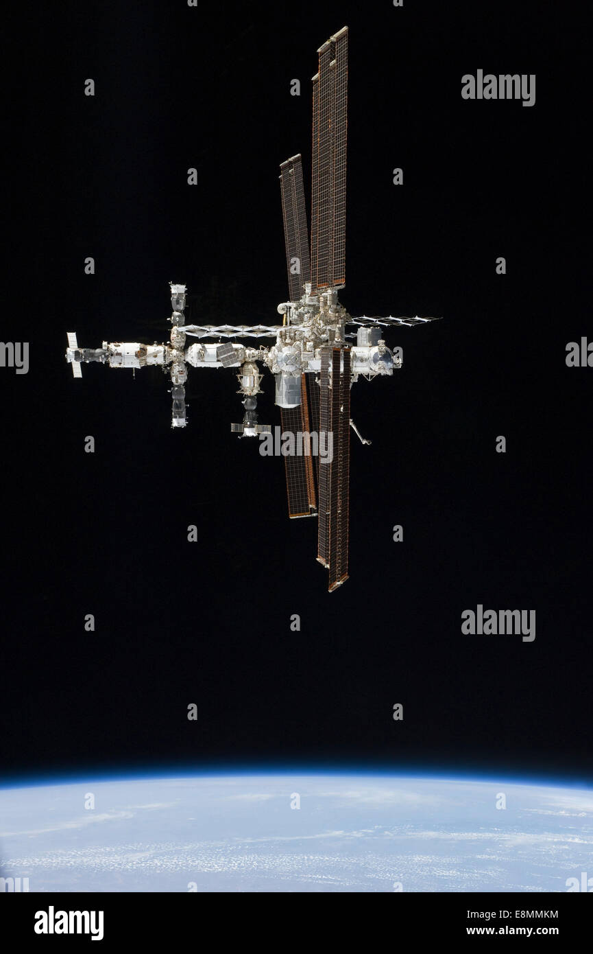 July 19, 2011 - The International Space Station in orbit above Earth. - Stock Image