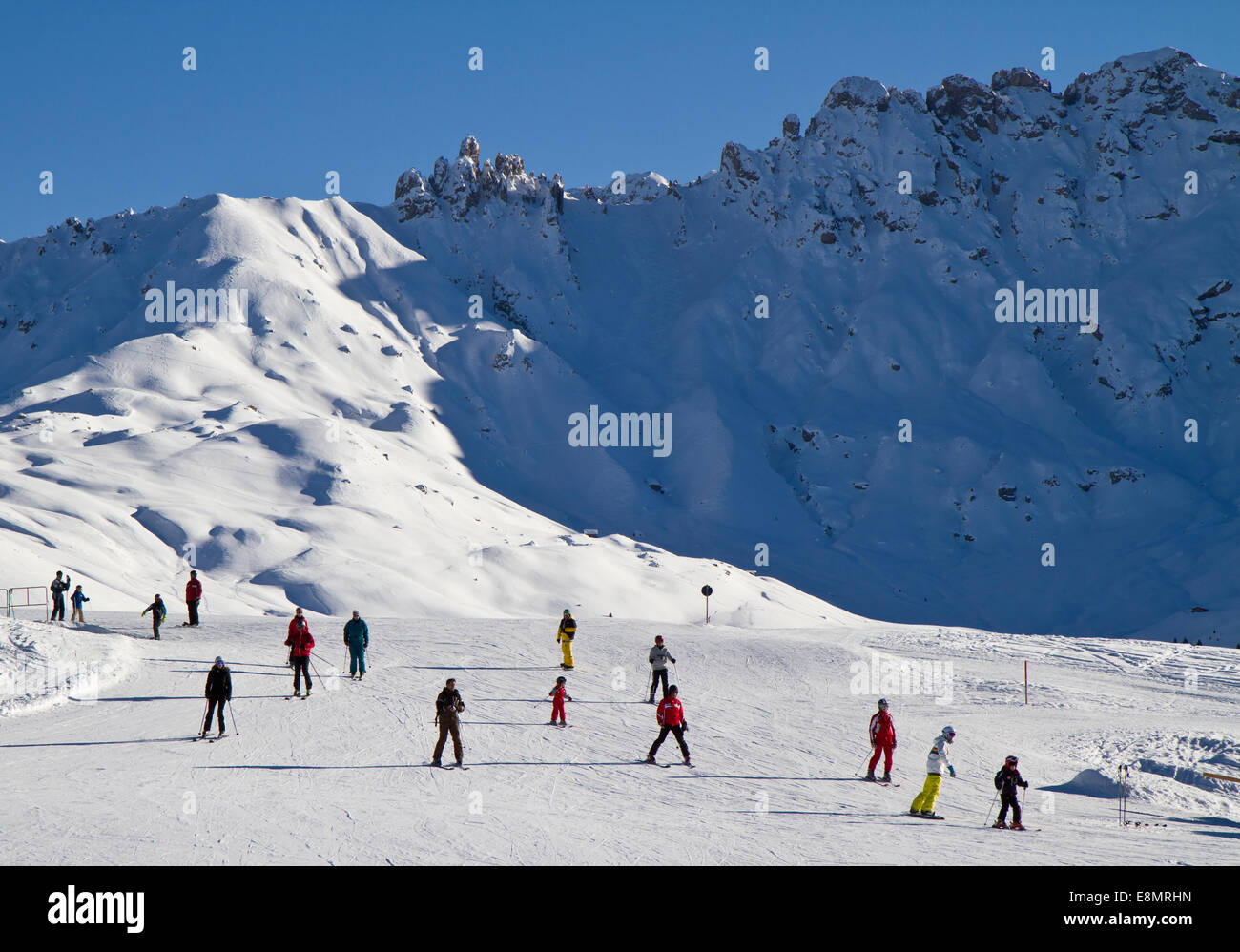 Skiing ob seisser alm, italy - Stock Image