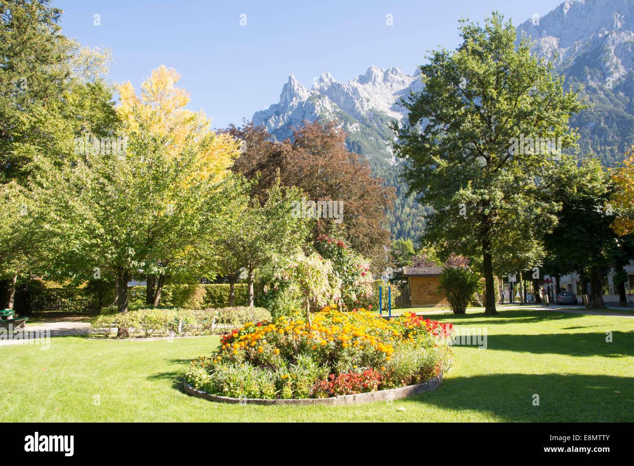 Park in Mittenwald at the Karwendel Mountains - Stock Image