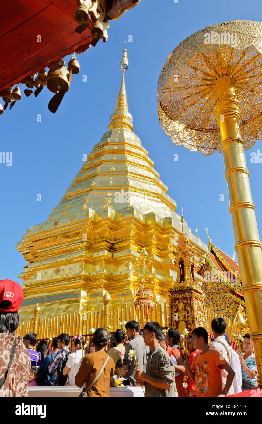 Thai people assembled religious rituals homage to the Buddha in the End of Buddhist Lent day at  Wat Phra That Doi - Stock Image