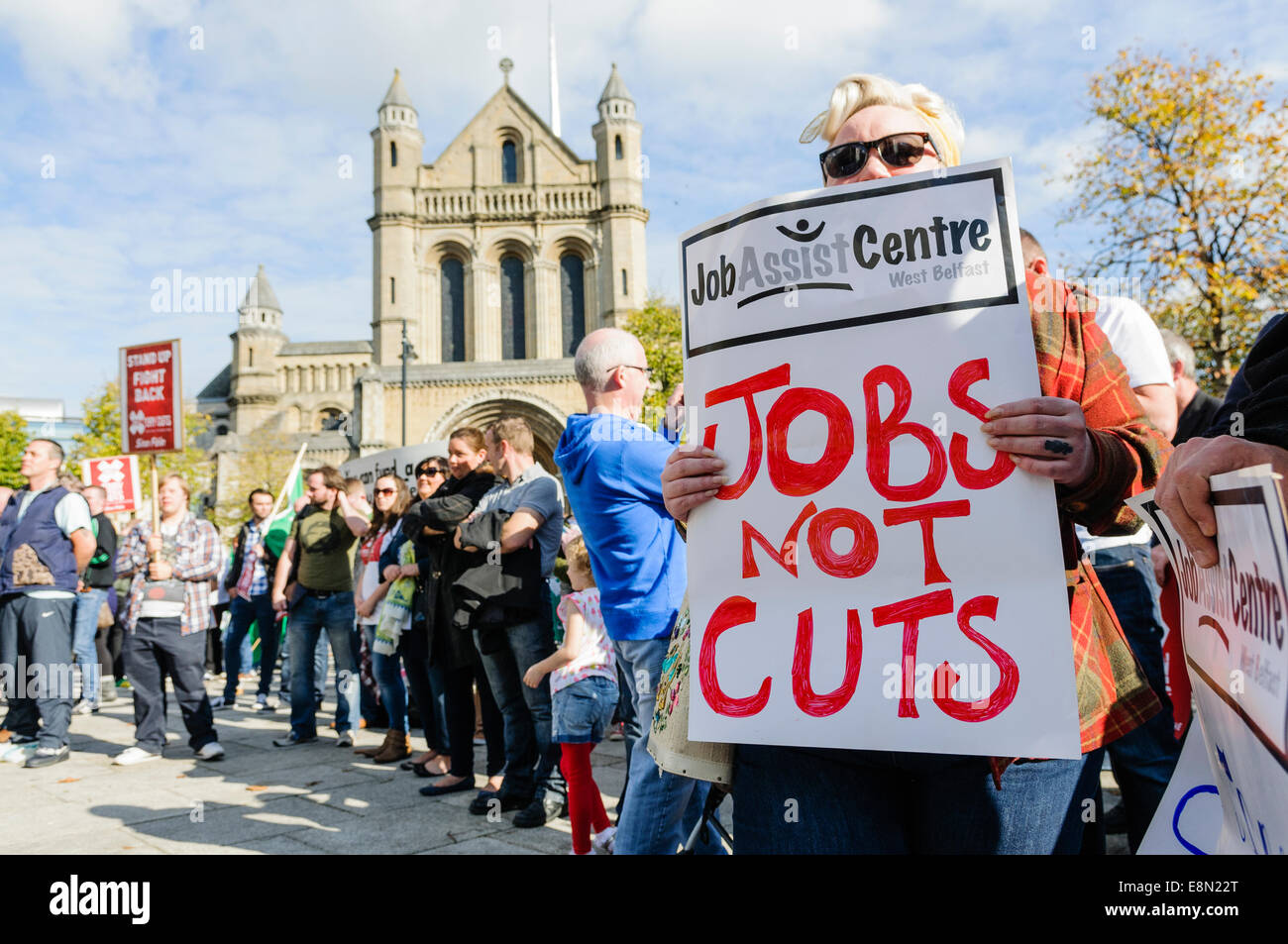 Protest against austerity cuts, Belfast, Northern Ireland Stock Photo