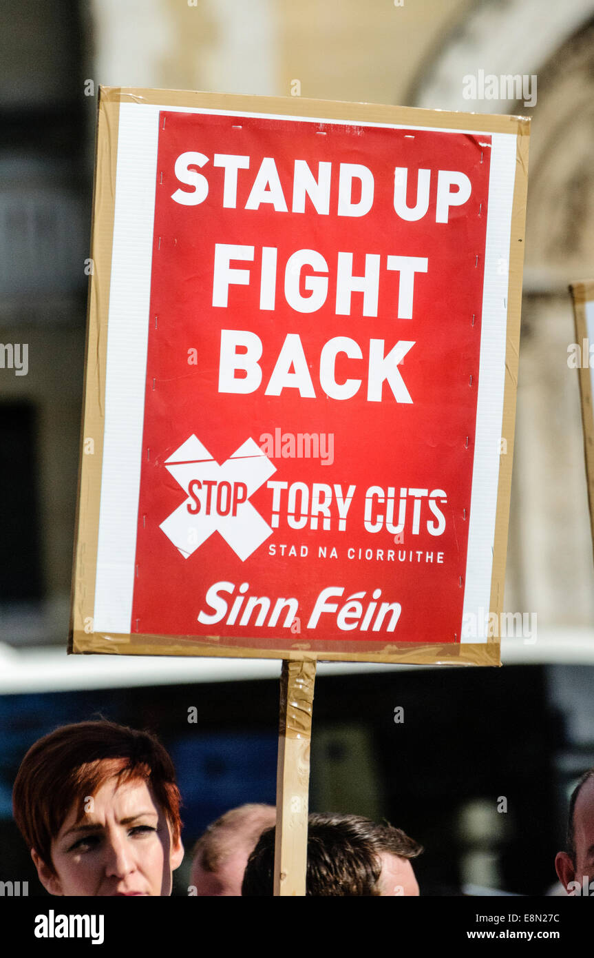 Belfast, Northern Ireland. 11/10/2014 - Banners calling for the end of Tory austerity cuts at a protest. Stock Photo