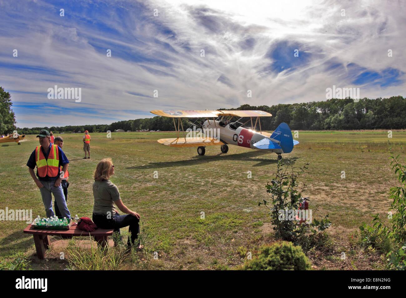 Bayport Aerodrome grass field airport Bayport Long Island New York - Stock Image