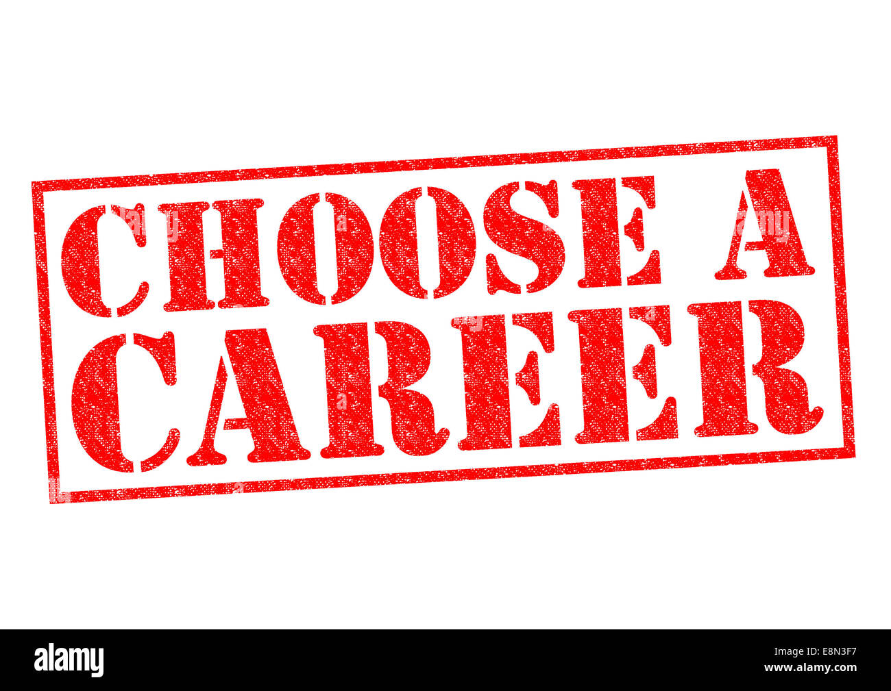 CHOOSE A CAREER red Rubber Stamp over a white background. - Stock Image