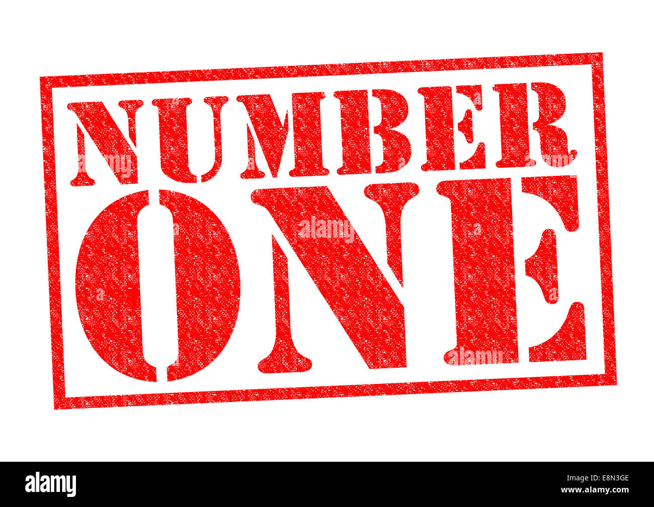number one red rubber stamp over a white background stock photo