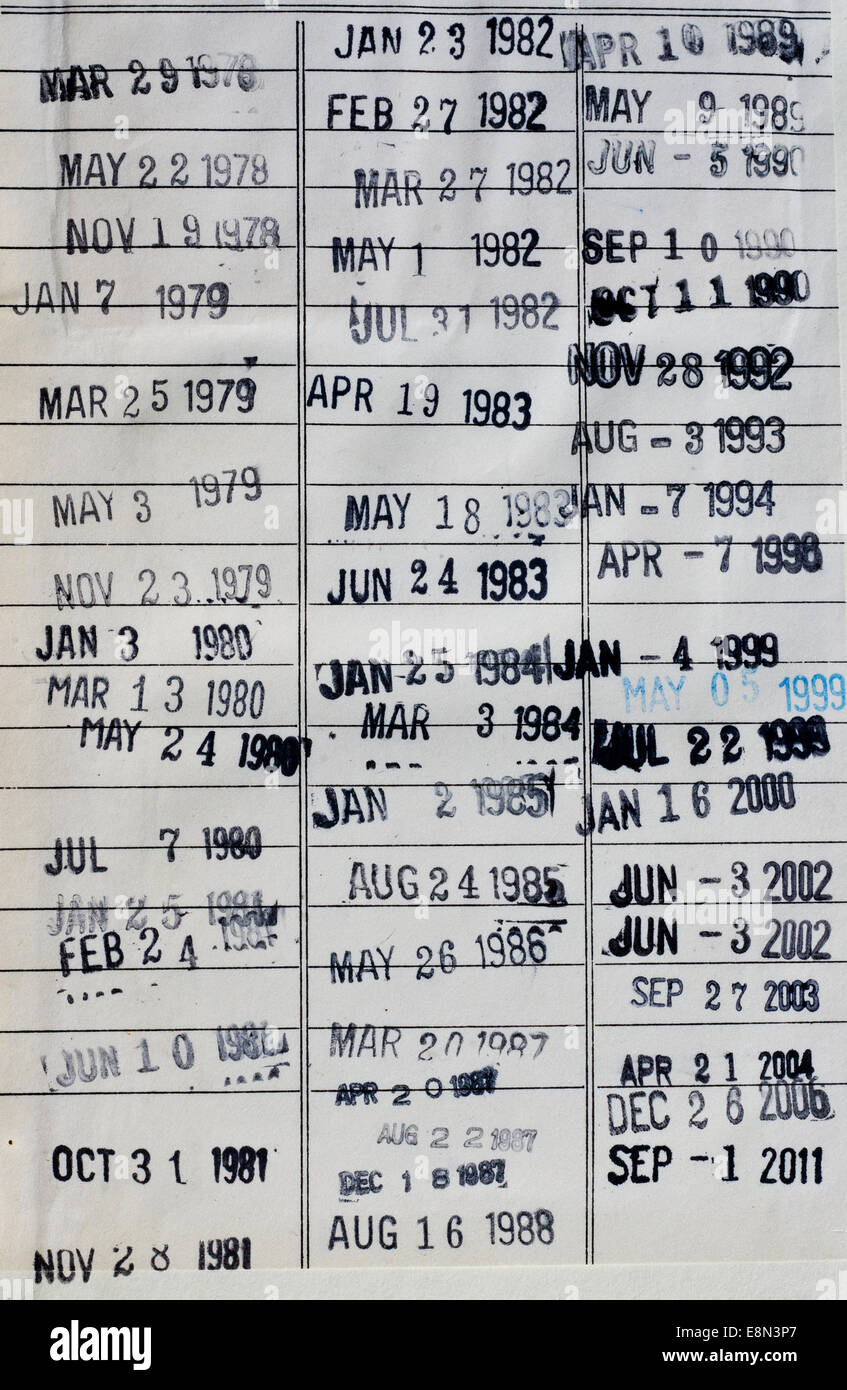 Date Stamps In A Library Book