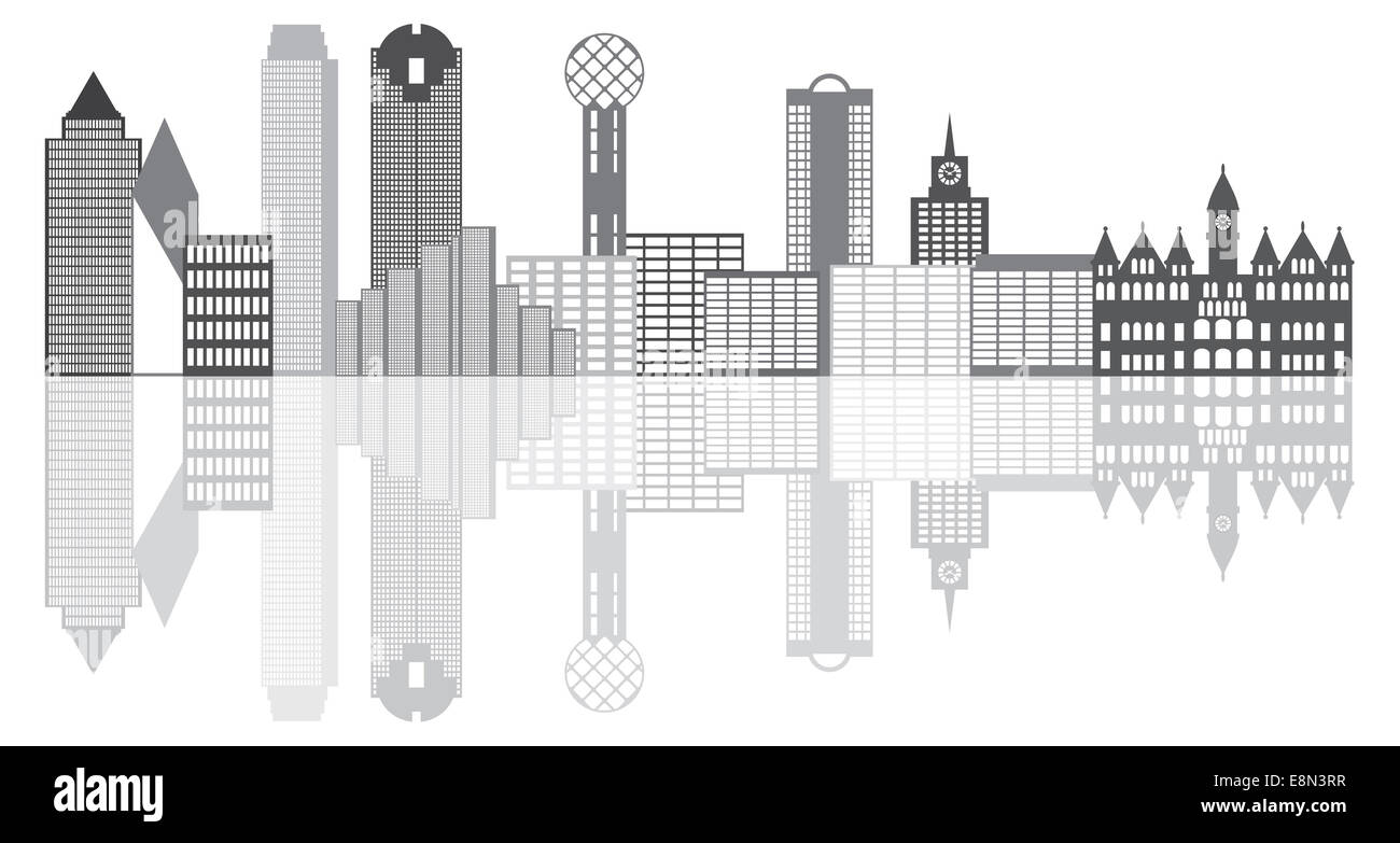 dallas texas city skyline outline grayscale silhouette panorama