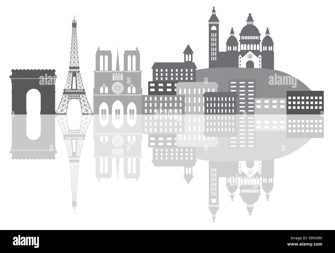 Paris France City Skyline Outline Silhouette Grayscale with Reflection Isolated on White Background Panorama Illustration - Stock Image