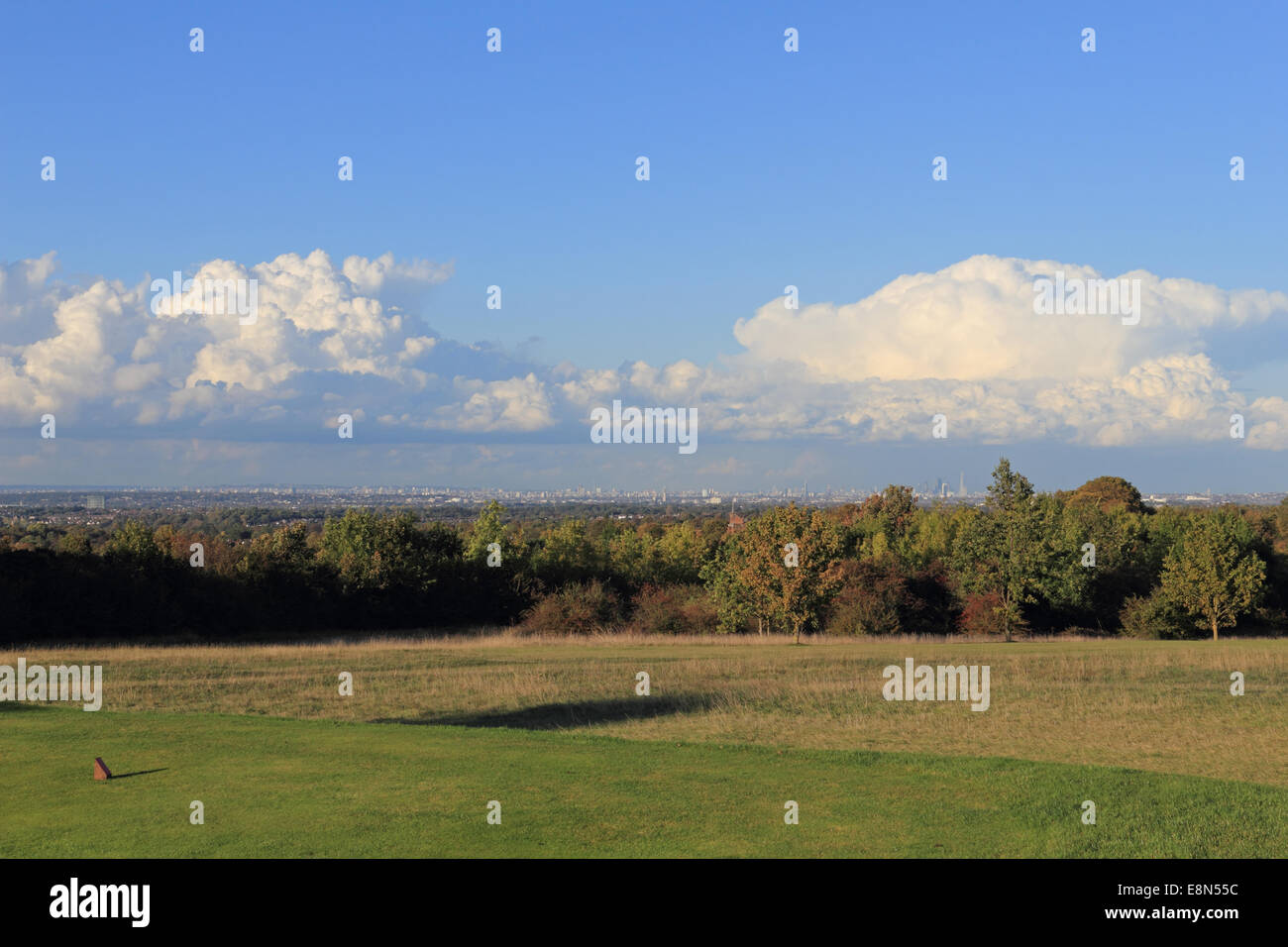 Epsom Downs, Surrey, UK. 11th October 2014. On day of sunshine and showers, a huge cumulonimbus storm cloud formed - Stock Image