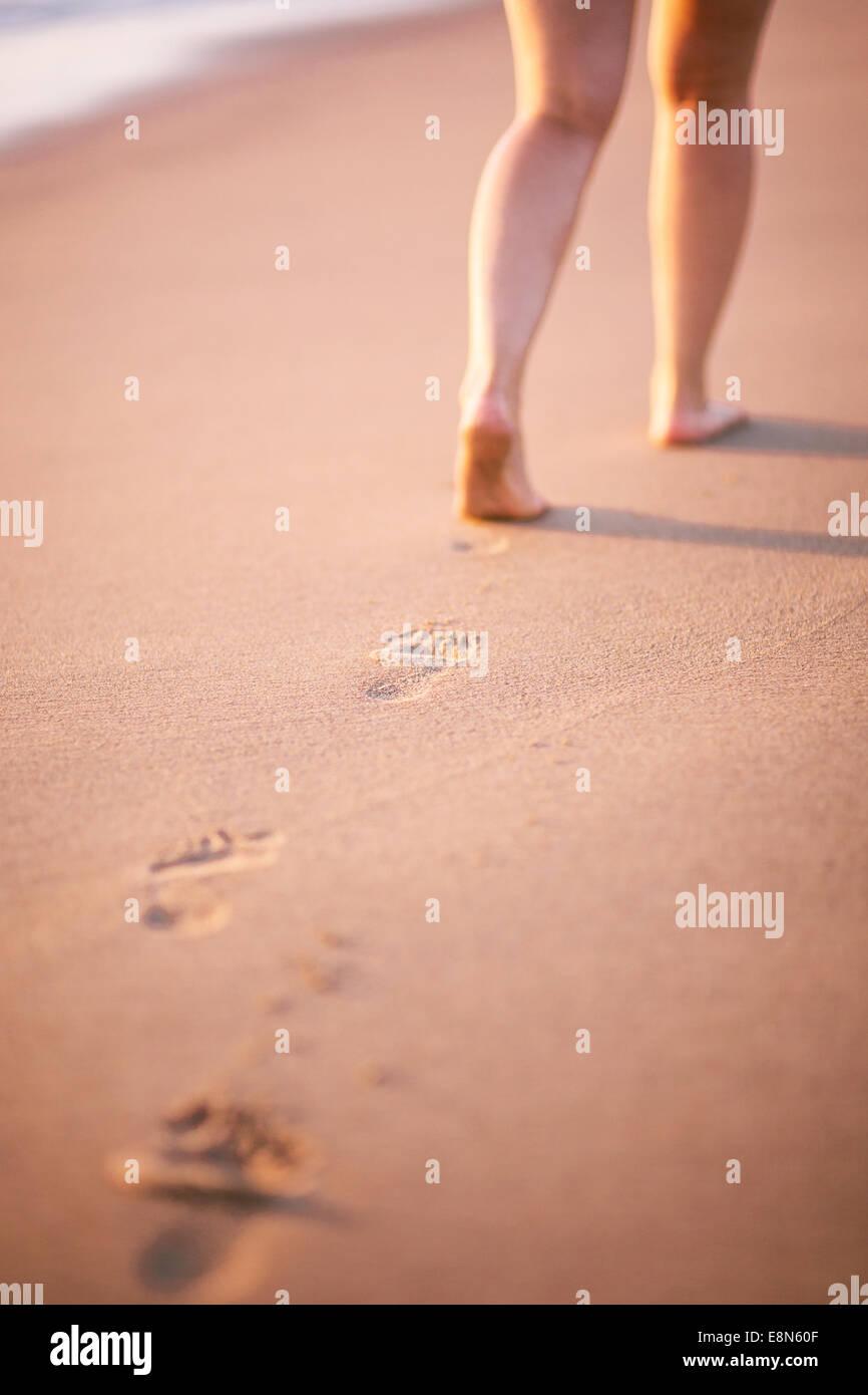 Beach footprint - Stock Image