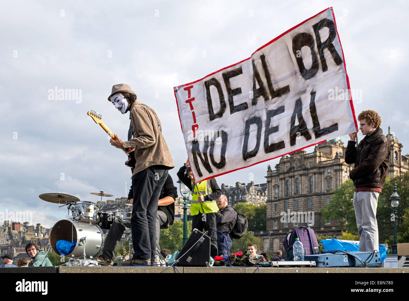 Demonstration in Edinburgh against TTIP, Transatlantic Trade and Investment Partnership. 11th October 2014. - Stock Image