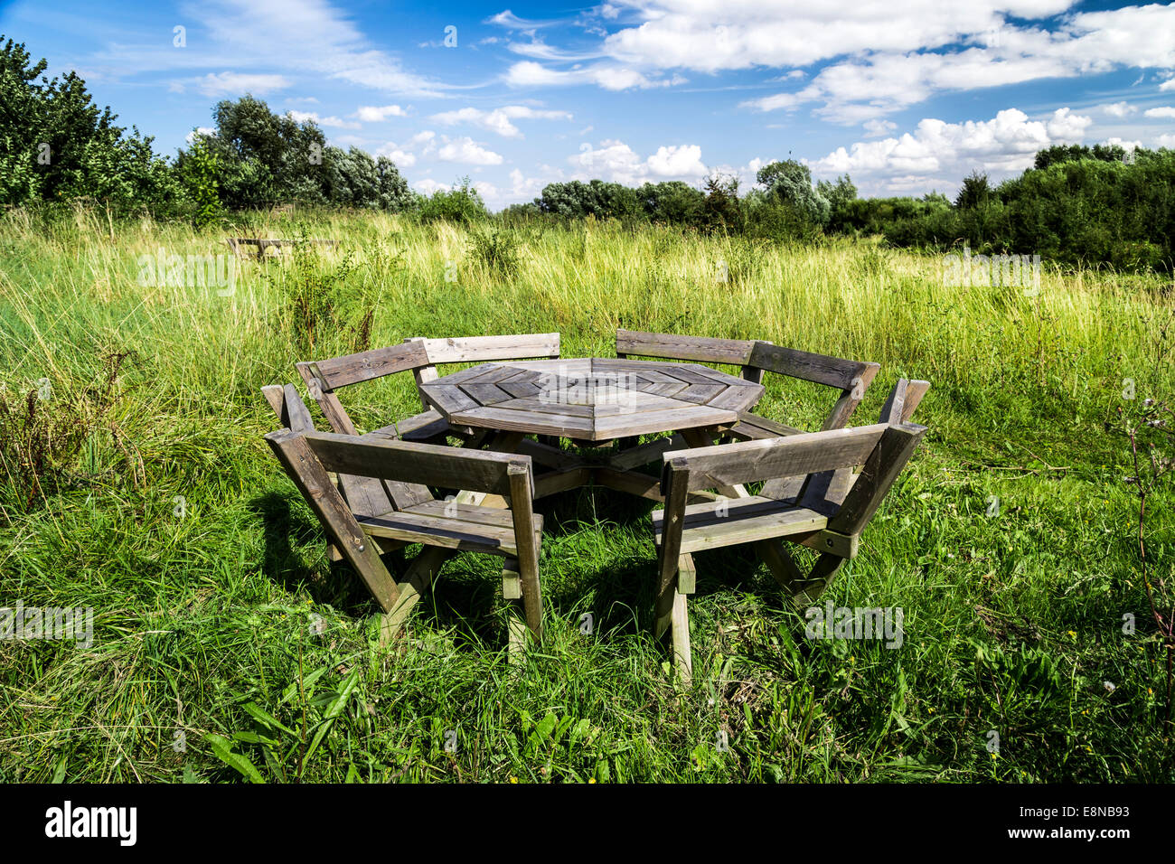 Blue sky with white fluffy clouds and a weathered wooden picnic table in uncultivated meadow in summer - Stock Image
