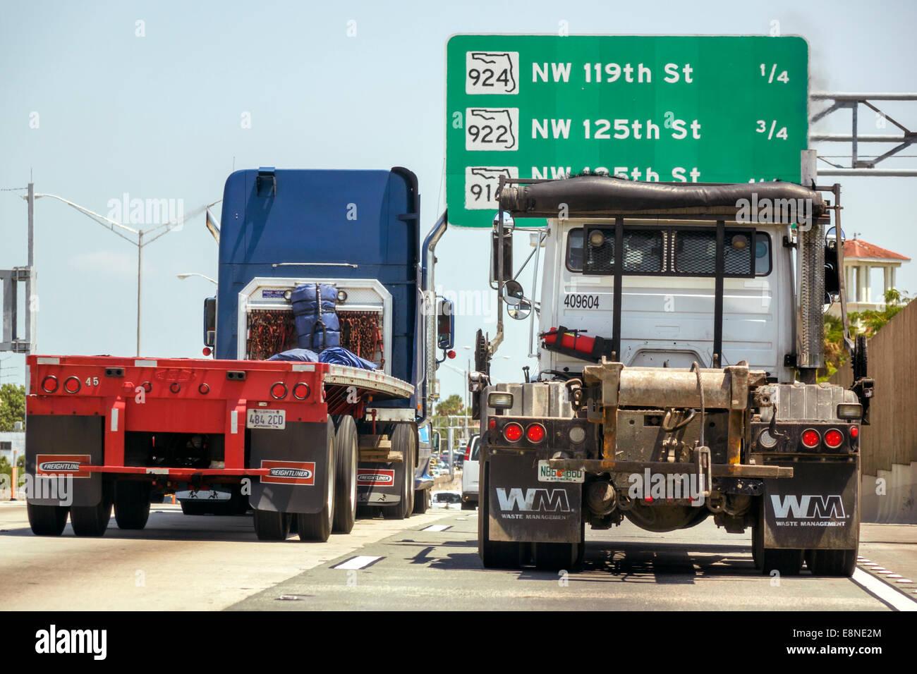 Miami Florida Interstate I-95 highway sign trucks semi-tractor Stock