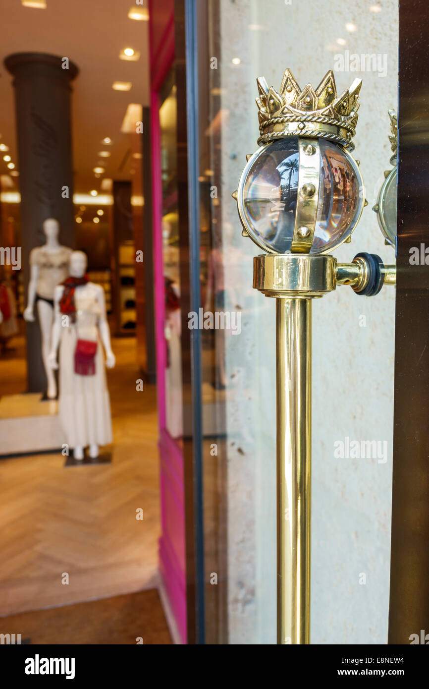 Palm Beach Florida Worth Avenue shopping Juicy Couture entrance fancy door handle - Stock Image