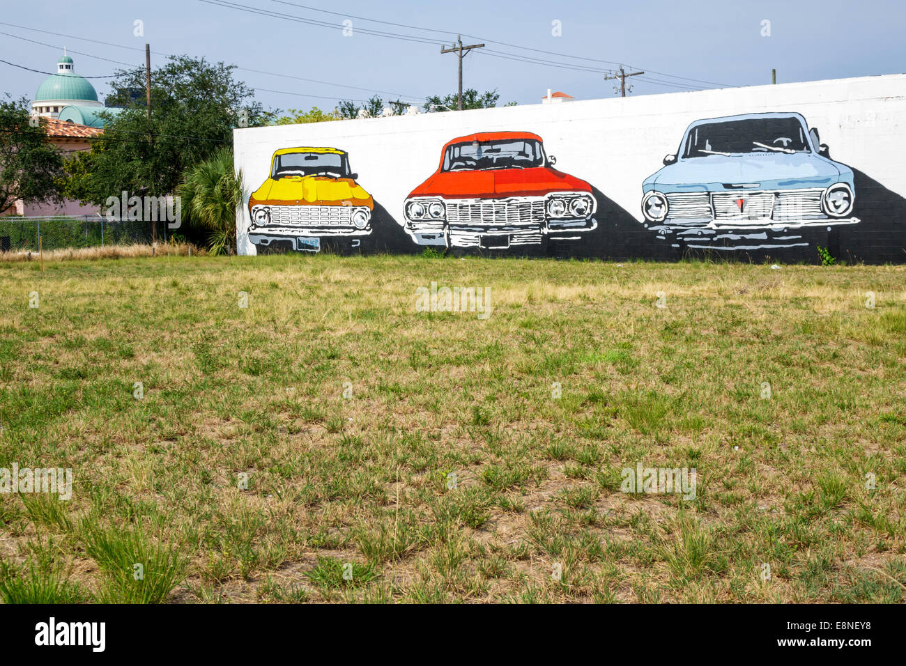 West Palm Beach Florida wall mural classic cars art Stock Photo ...