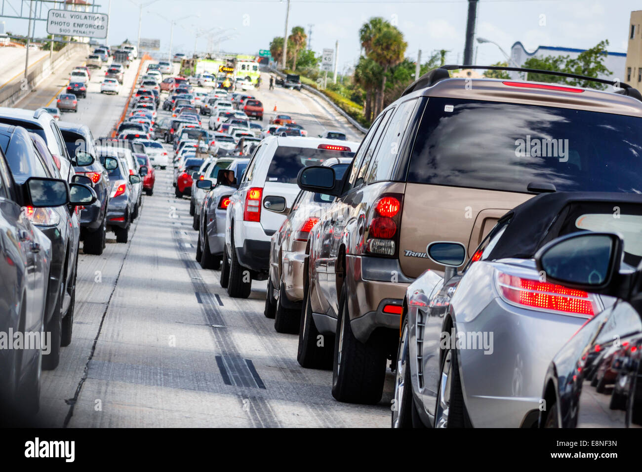 Miami Florida Interstate I-95 highway traffic stopped slowed jam