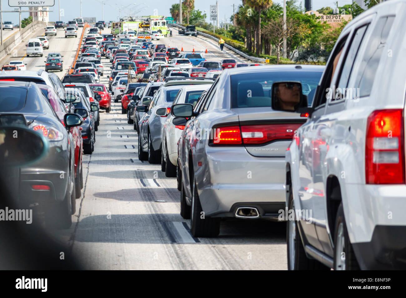 Miami Florida Interstate I-95 highway traffic stopped slowed jam
