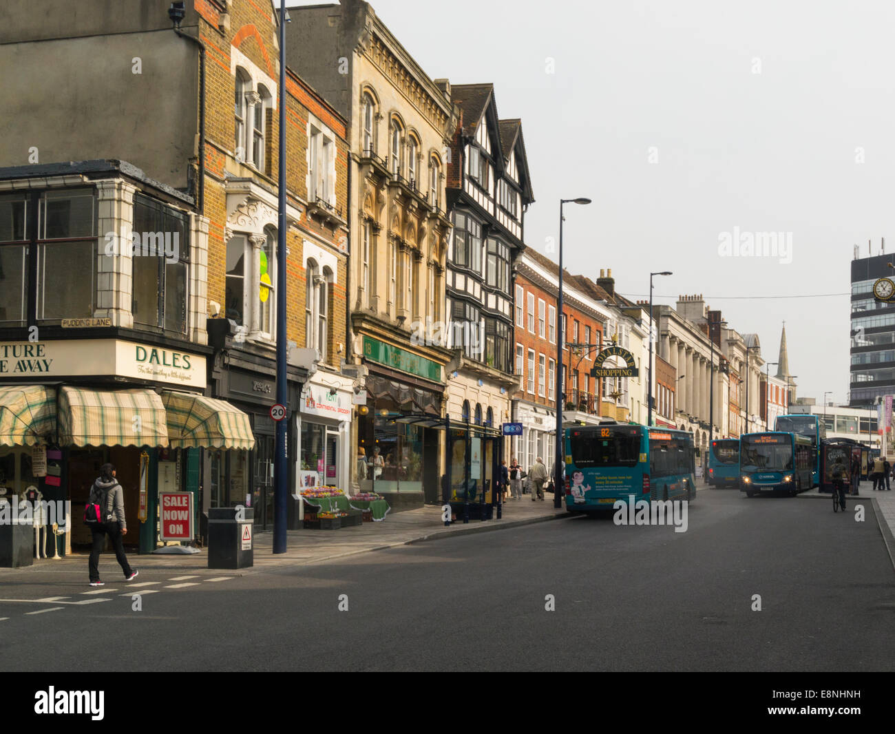 Looking up Bank Street with Royal Star Shopping Arcade Maidstone Kent England UK - Stock Image