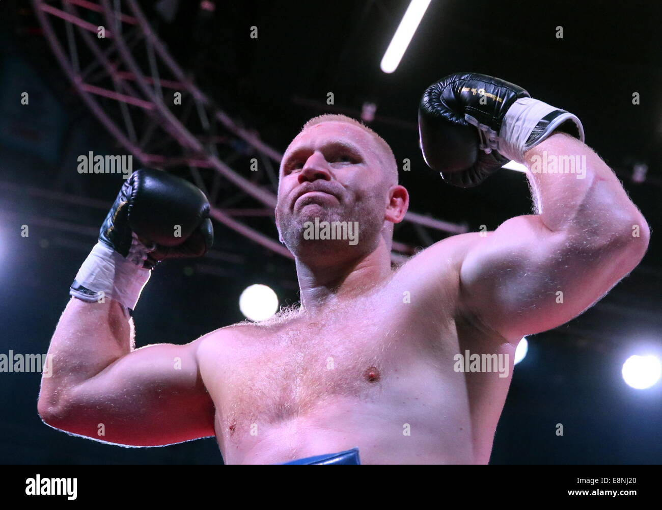 Moscow, Russia. 11th Oct, 2014. Russia's Sergei Kharitonov seen after wining the W5 World Title in heavyweight - Stock Image