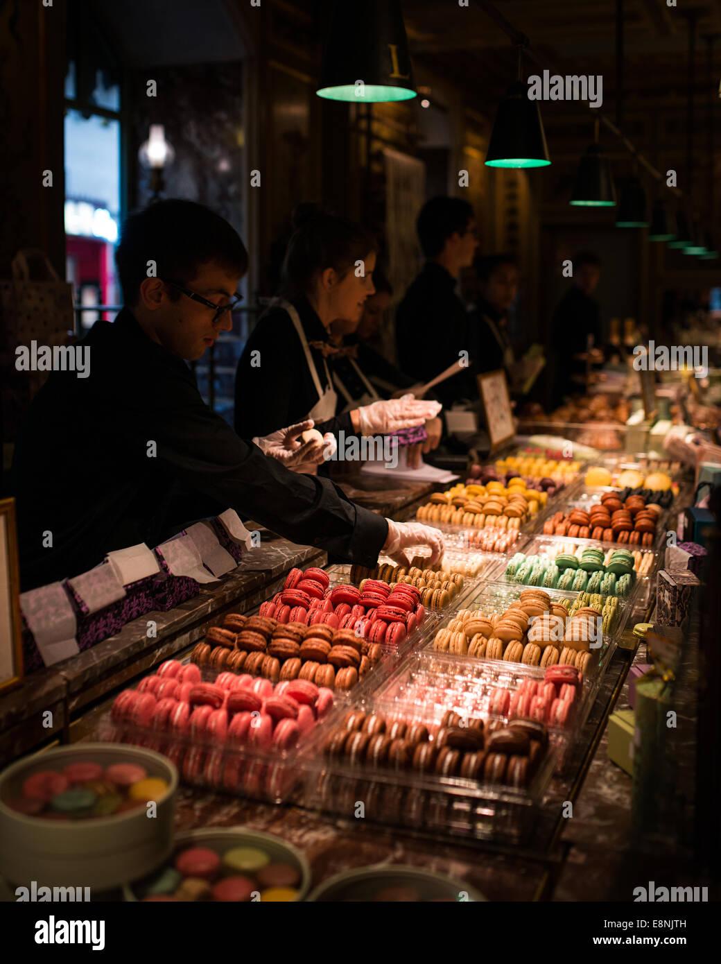 Ladurée shop front on the Champs-Élysées, Paris, France - Stock Image