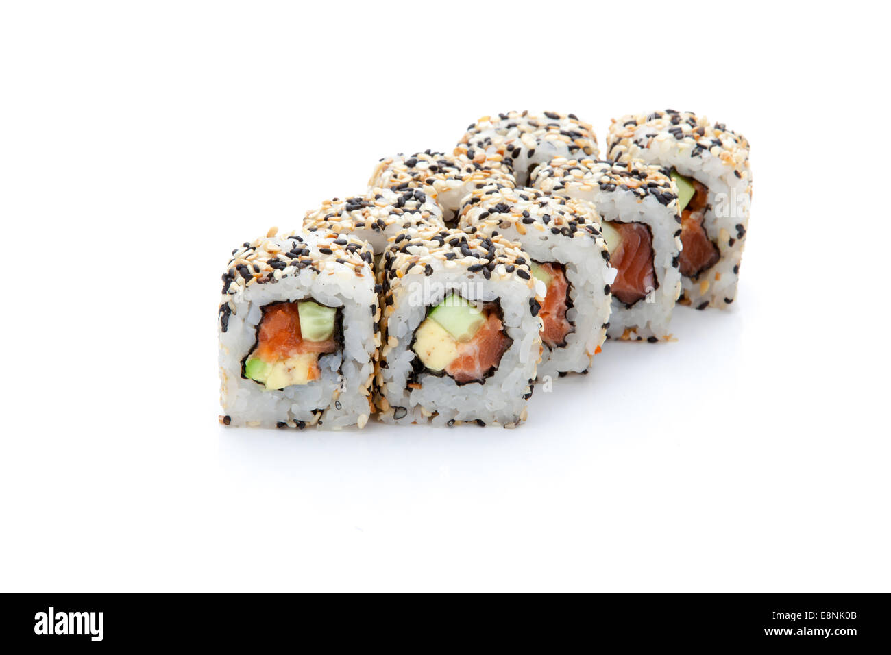 Set Of Sushi Rolls With Sesame Salmon Cucumber And Avocado