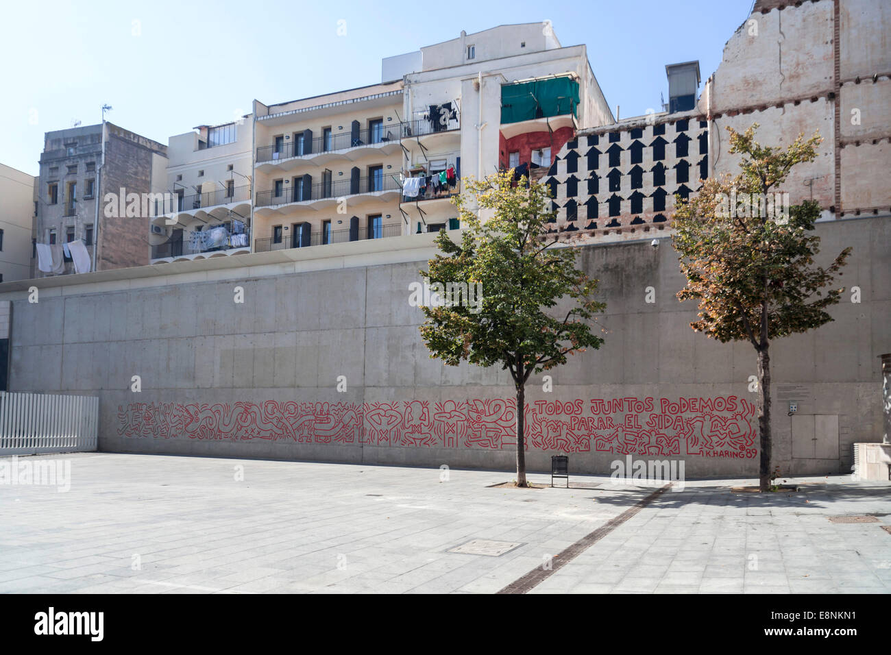 Reproduction of Keith Haring drawing beside MACBA museum,Barcelona. - Stock Image