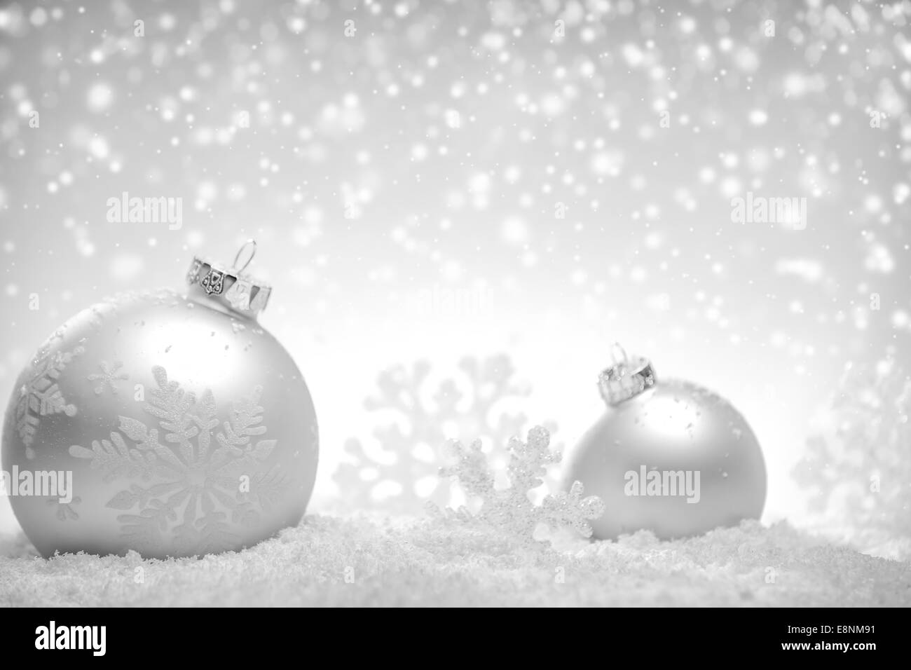 Christmas silver background with balls and snowflake - Stock Image
