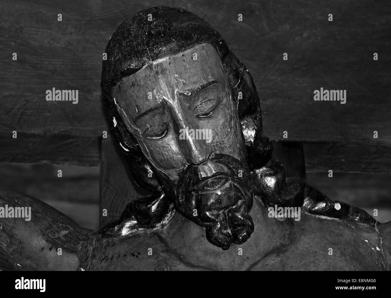 Spain, St. James Way: Face of crucified Christ in the romanesque church Santa Maria in O Cebreiro in black and white - Stock Image