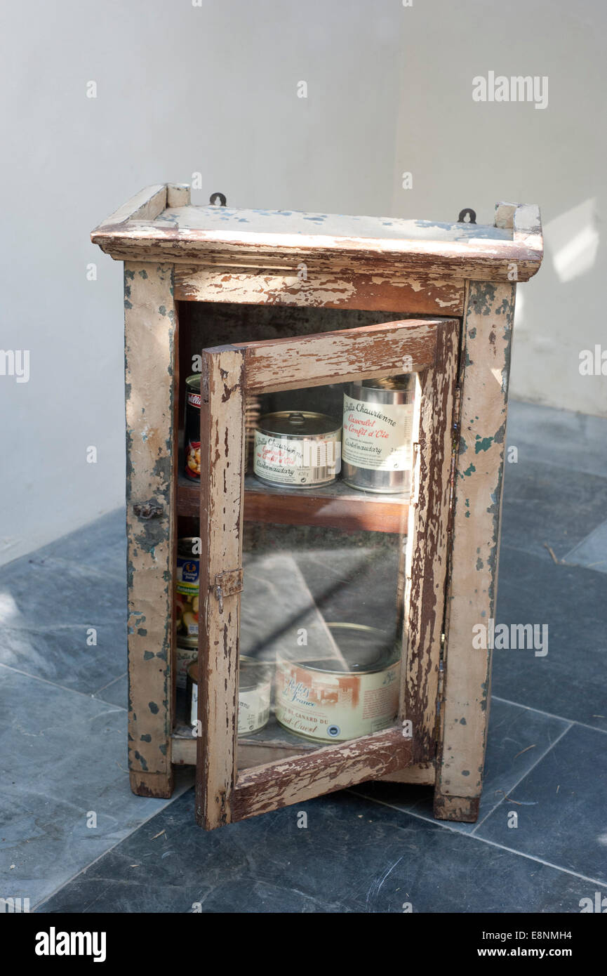 An battered old Indian Tin food cabinet - Stock Image