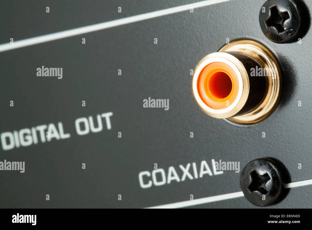 Coaxial digital output, gold plated, narrow focus - Stock Image