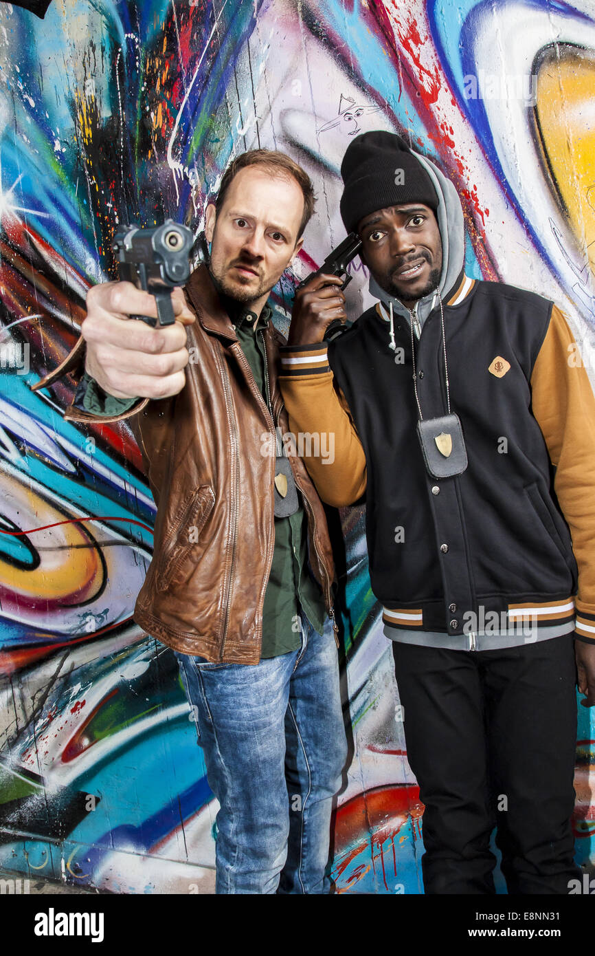 Celebrities promoting new Comedy Central TV series Popoz at Comet Club.  Featuring: Huub Smit,Sergio Hasselbaink - Stock Image