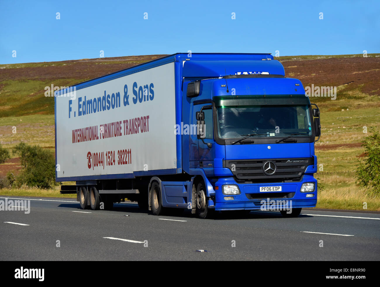 F.Edmondson & Sons HGV. M6 Motorway, southbound. Shap, Cumbria, England, United Kingdom, Europe. - Stock Image