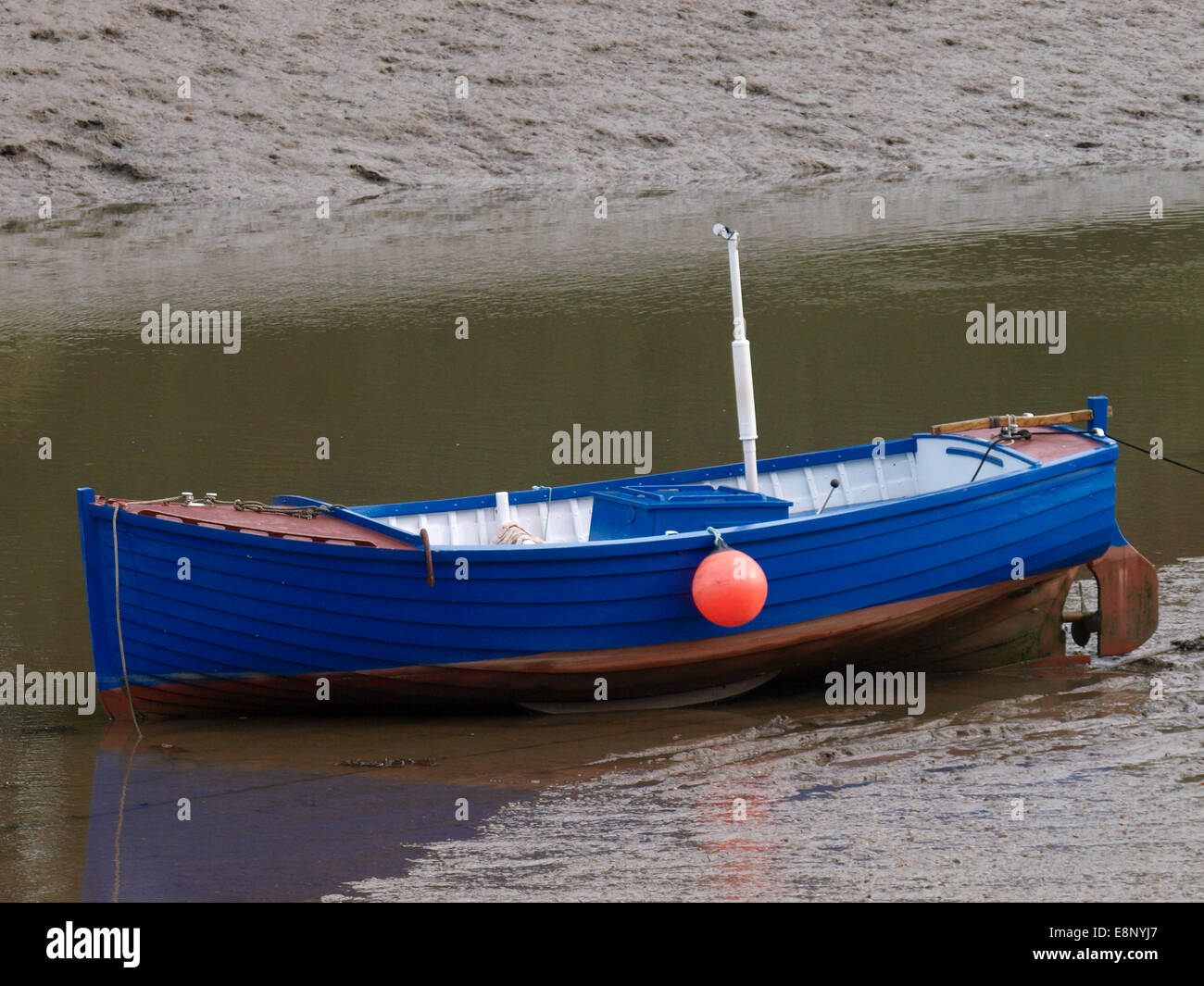 Small engined open boat, Fremington, Devon, UK - Stock Image