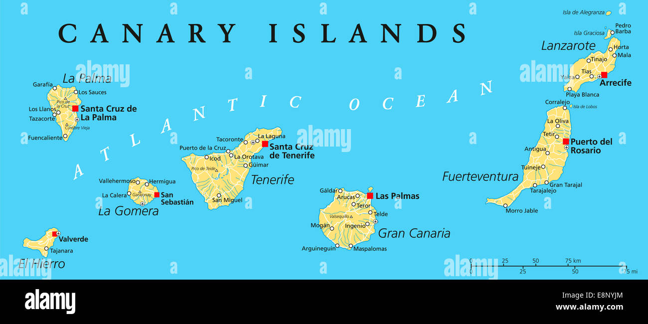 Canary Islands Map Stock Photos Canary Islands Map Stock Images