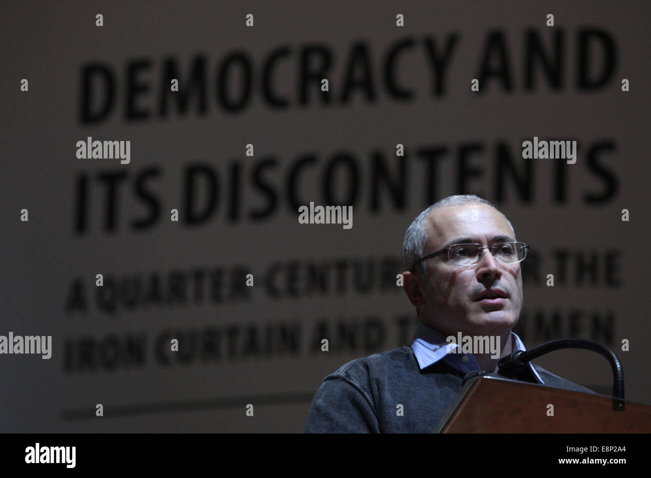 Prague, Czech Republic. 12th October, 2014. Russian former oil tycoon and political prisoner Mikhail Khodorkovsky - Stock Image