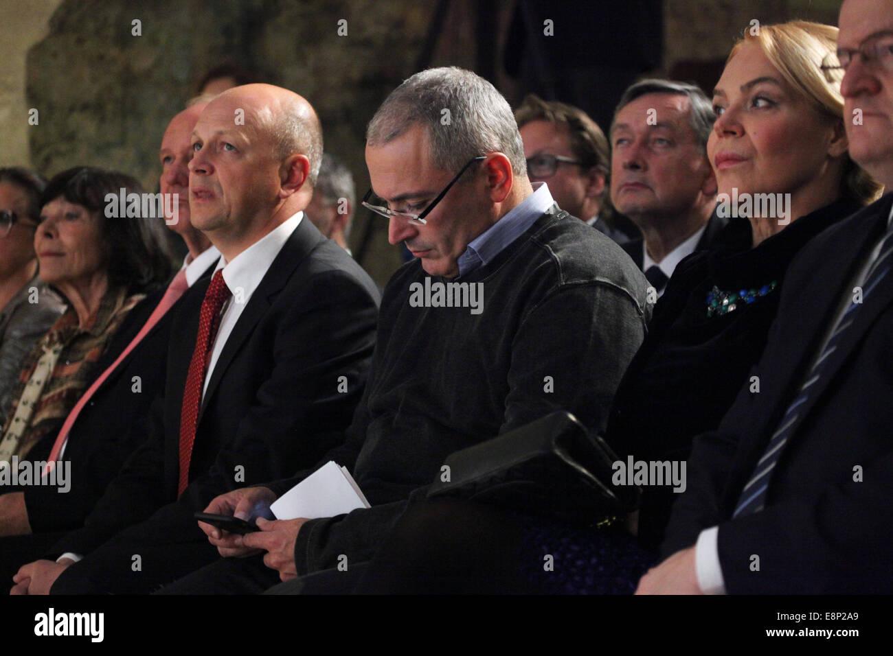 Prague, Czech Republic. 12th October, 2014. Russian former oil tycoon and political prisoner Mikhail Khodorkovsky - Stock Image