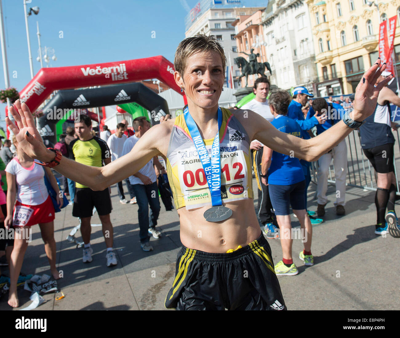 Zagreb, Croatia. 12th Oct, 2014. Winner of women's competition Olivera Jevtic of Serbia celebrates after the - Stock Image