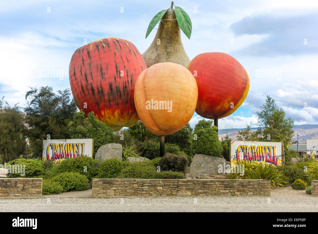 Giant Fruit sculpture at the entrance to Cromwell Otago New Zealand Roadside Attraction Big Things Apple Pear Apricot Stock Photo