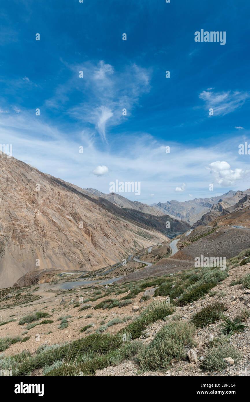 Ghata Loop, Landscape on Leh Manali Highway - Stock Image