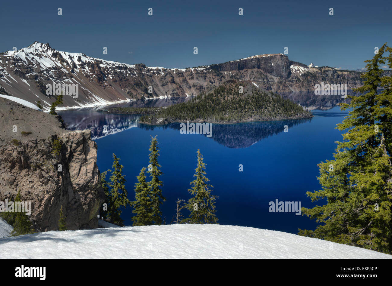 Crater Lake, Oregon in late spring, as seen from Discovery Point - Stock Image