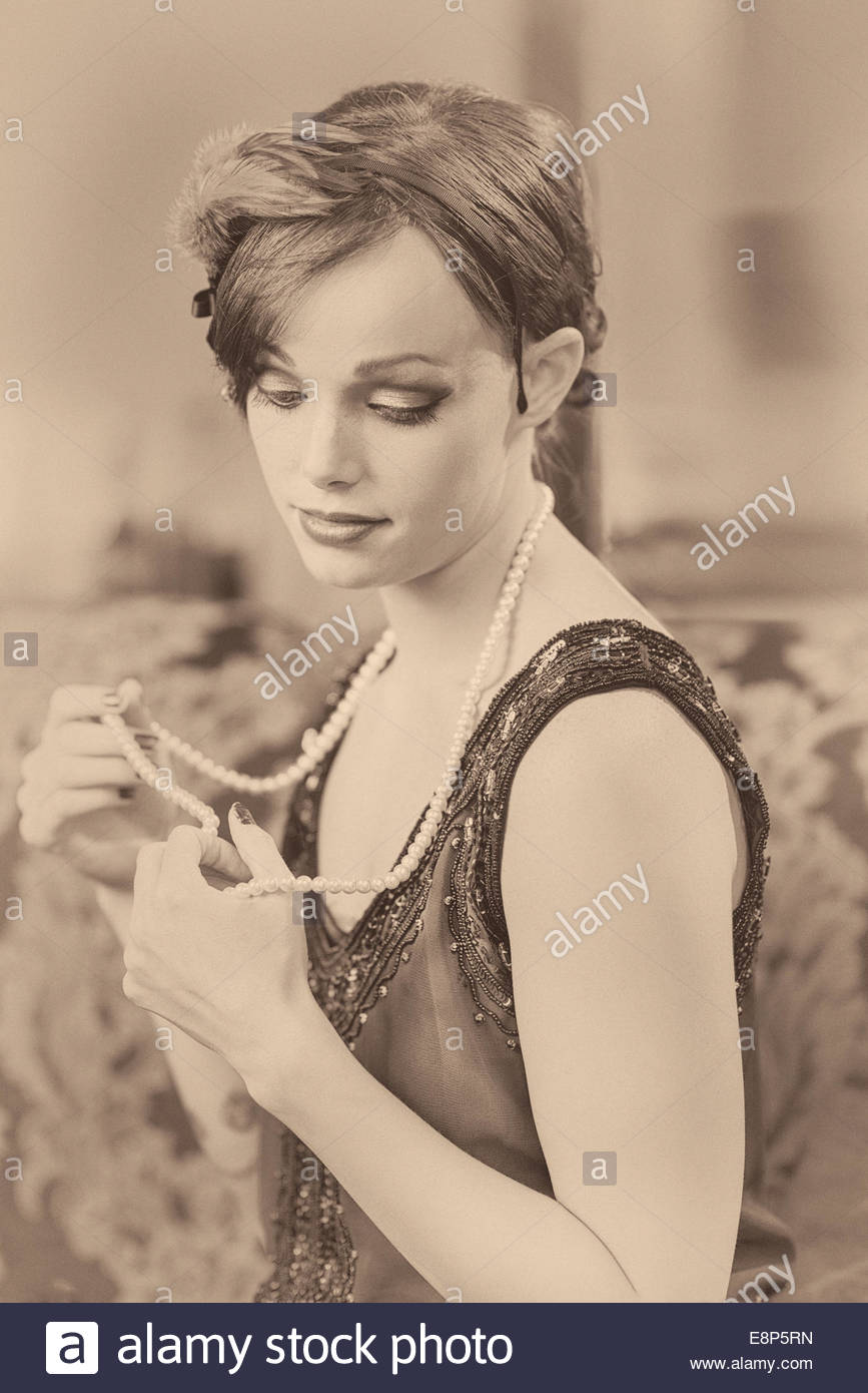 Profile Of A Woman In A Flapper Hair Style In Profile Done In Sepia
